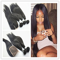 "Angelbella Super Cheap 8""-28"" Silky Straight Hair Natural Color Brazilian Hair"