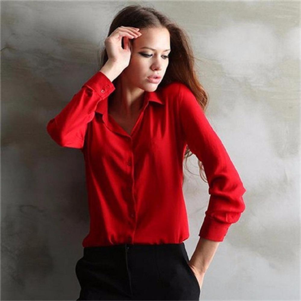 5 Colors Work Wear 2015 Women Shirt Chiffon Blusas ...
