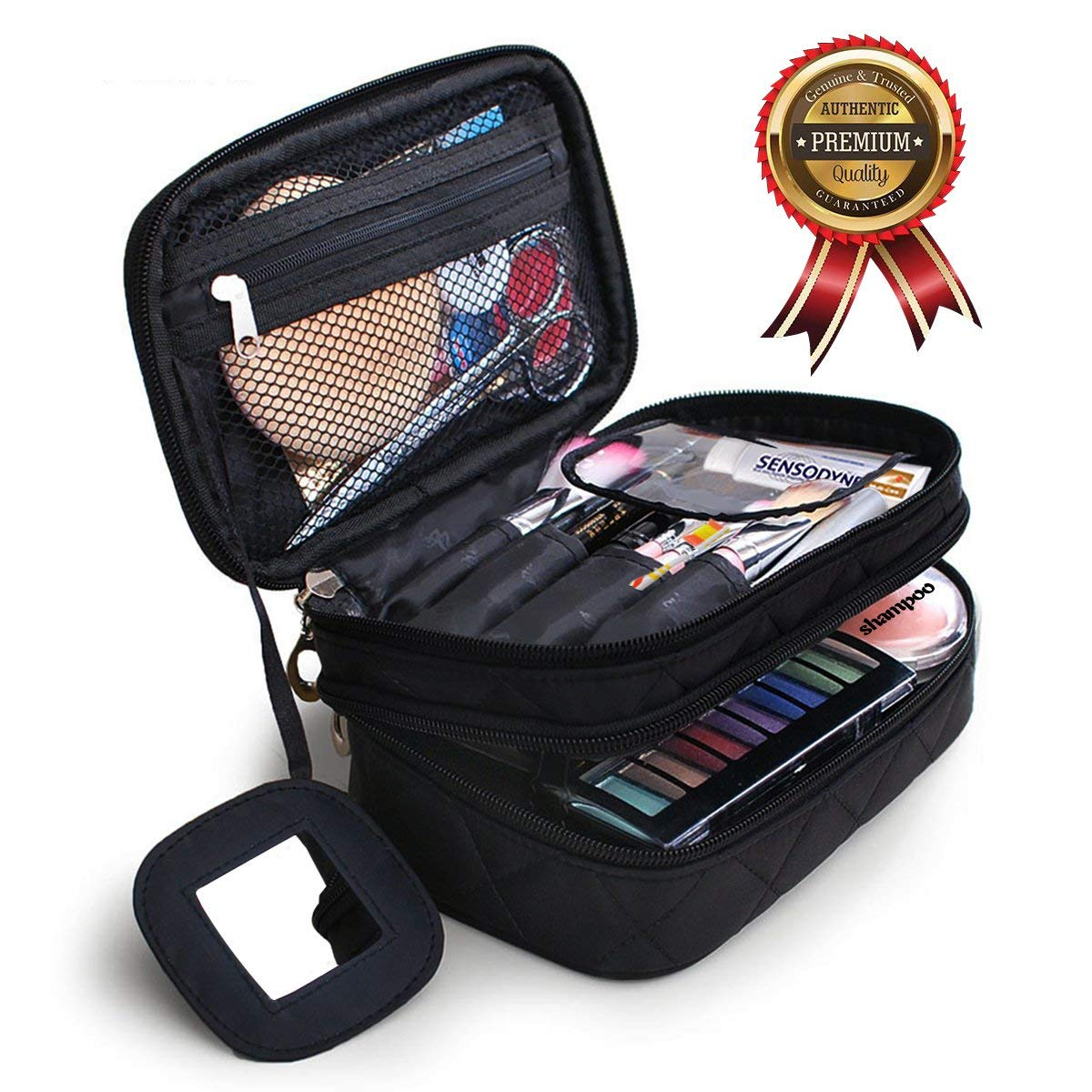 Get Quotations · Portable Makeup Bag Double Layer Toiletry Cosmetic Brush Organizer with Mirror for Women Black Multifunctional Travel