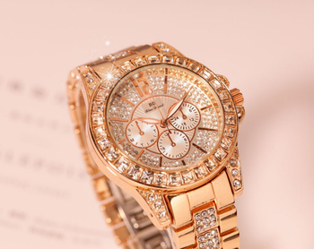 Shenzhen Watch Factory In Stock All Diamonds Alloy Steel Gold Watch Women Luxury Jewelry Dress Wristwatch
