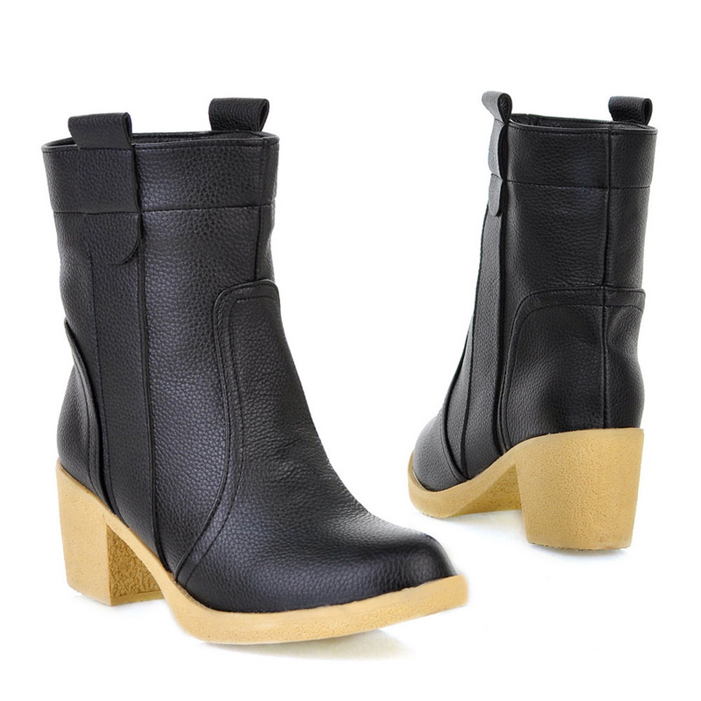 17cb07b520dbb Get Quotations · Women Boots Ladies Boots Women Spring Round Toe Square  Medium Heel Black Boots Female Charms Solid