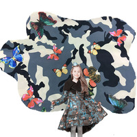 Valentino popular camouflage butterfly print polyester fabric for jacket