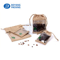 top fashionable jute bags for coffee bean with PVC window