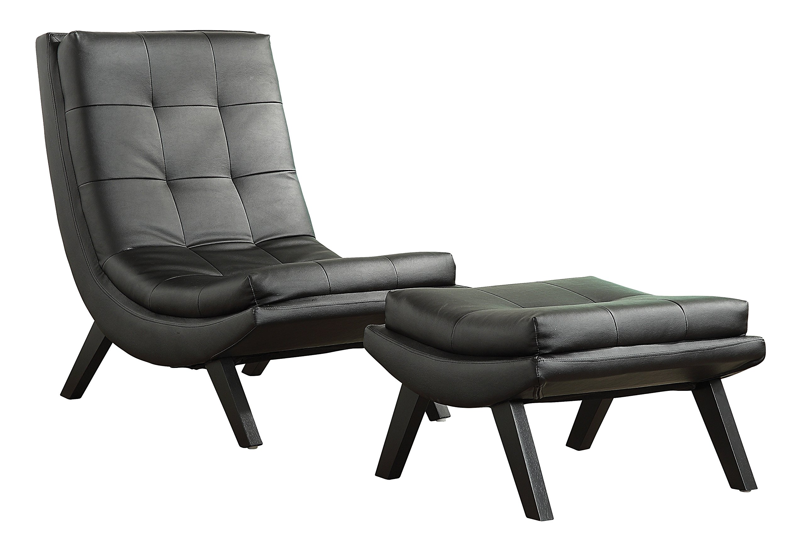 Get Quotations · AVE SIX Tustin Faux Leather Lounge Chair And Ottoman Set  With Solid Wood Legs, Black