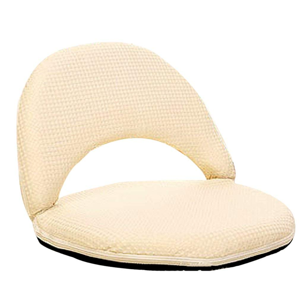 Li Jing Firm Lazy couch stylish backrest chair single small sofa cute casual stool adult folding tatami sofa cushion chair bed chair washable (Color : White)