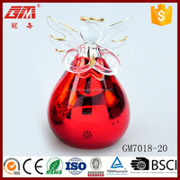Baoying hand blown christmas decoration glass angel with red dress