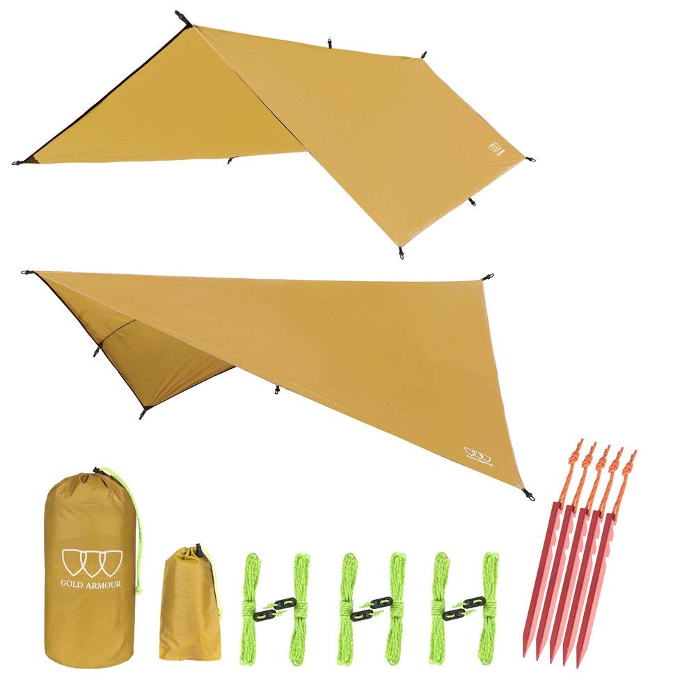 "Gold Armour 12' XL TARP HAMMOCK WATERPROOF RAIN FLY TENT TARP 185"" CENTERLINE - Lightweight NYLON - Stakes Included. Survival Gear Backpacking Camping ENO Accessory"