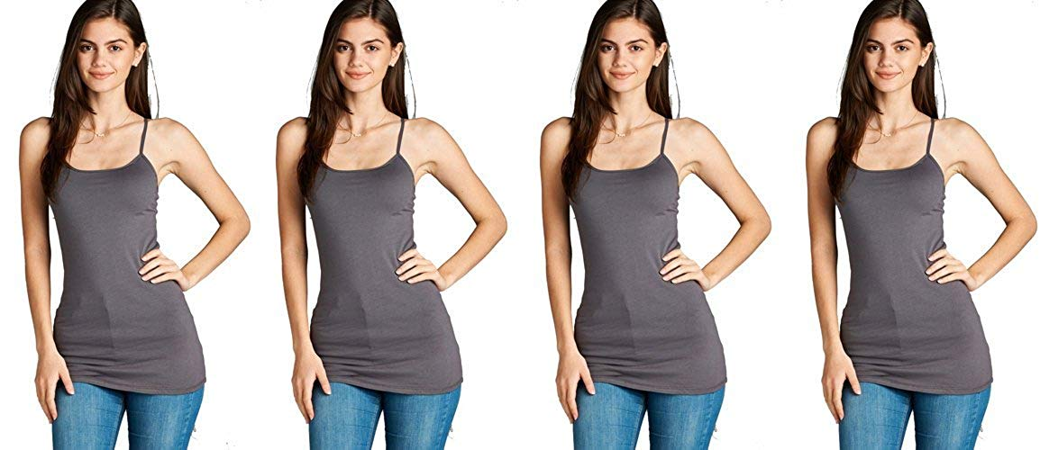4 Pack Active Basic Women's Basic Tank Top (Charcoal 4 Pack)