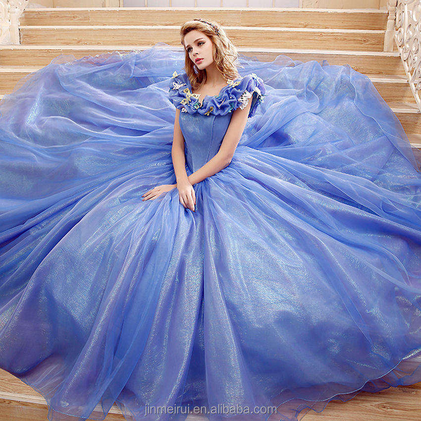 Cinderella Dress Organza Ball Gown Wedding Dresses 2016 Sleeveless Puffy Robe De Mariage Blue Gowns