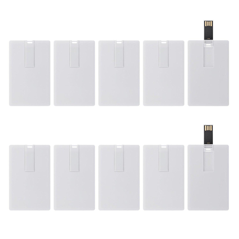 KEXIN USB Flash Drives Credit Card Bank Card Shape Flash Drive Memory Stick Key Credit 2GB 2G USB Drive - Bulk Flash Drives - 50 Pack (White Card)