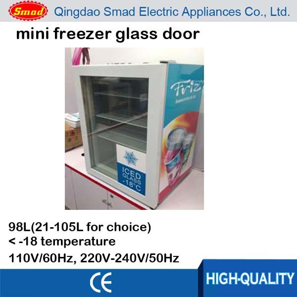 98l Mini Freezer Glass Door Counter Top Freezer Table Top Freezer