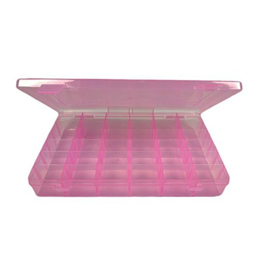 Tinksky Portable 36-Grid Adjustable Jewelry Organizer Box Storage Container Case with Removable Dividers (Pink)