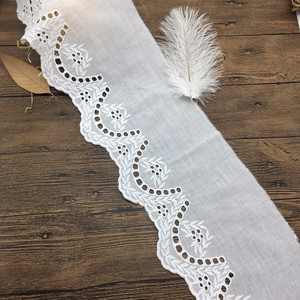9CM OLTX02196 2018 new elegant white cotton embroidery crochet patterns garment accessories