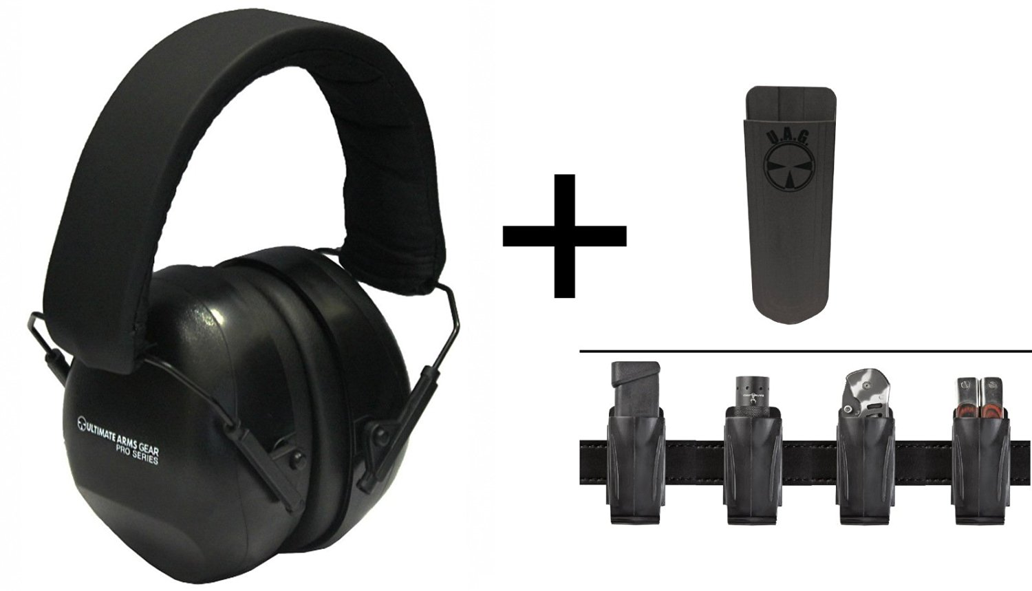 Ultimate Arms Gear 26db NRR Noise Reduction Suppressor Earmuffs + Universal Multi Purpose Accordion Flexible Belt Clip Pouch Holder Fits Pistol Magazines, Flashlights, Knives, and Multi-Tools, Grey