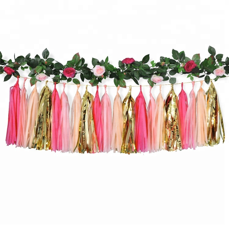 Best Selling Home Party Decoration Paper Garland With Flower