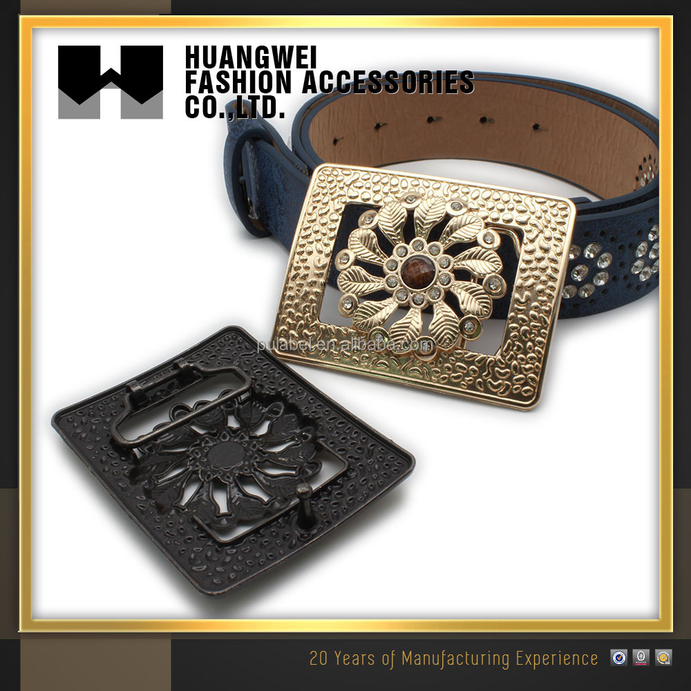 Wholesale Fashion 3d Flower Meta Shiny Gold Plate Belt Buckle