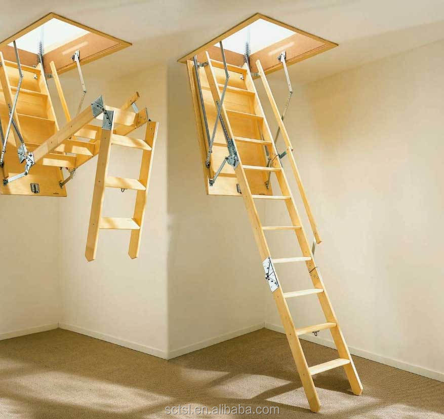 Hot sale Adjustable Telescopic wood attic ladder loft ladder in Alibaba