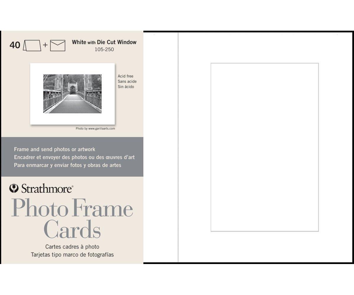Strathmore 105-250 Photo Frame Cards, White Cutout Window, 40 Cards & Envelopes