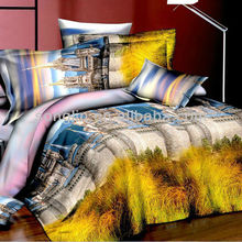 100% POLYESTER IMITATED REACTIVE PRINTING CASTLE YELLOW-PINK-BROWN COLOR 3D BEDDING SETS