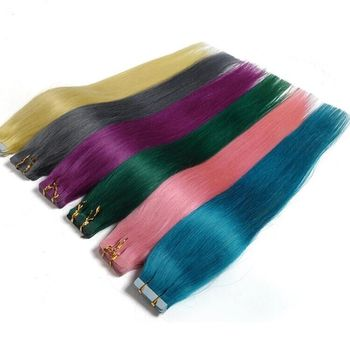 Tape In Human Hair Extensions 20pcs Remy Straight Brazilian Hair On Invisible Tape PU Skin Weft