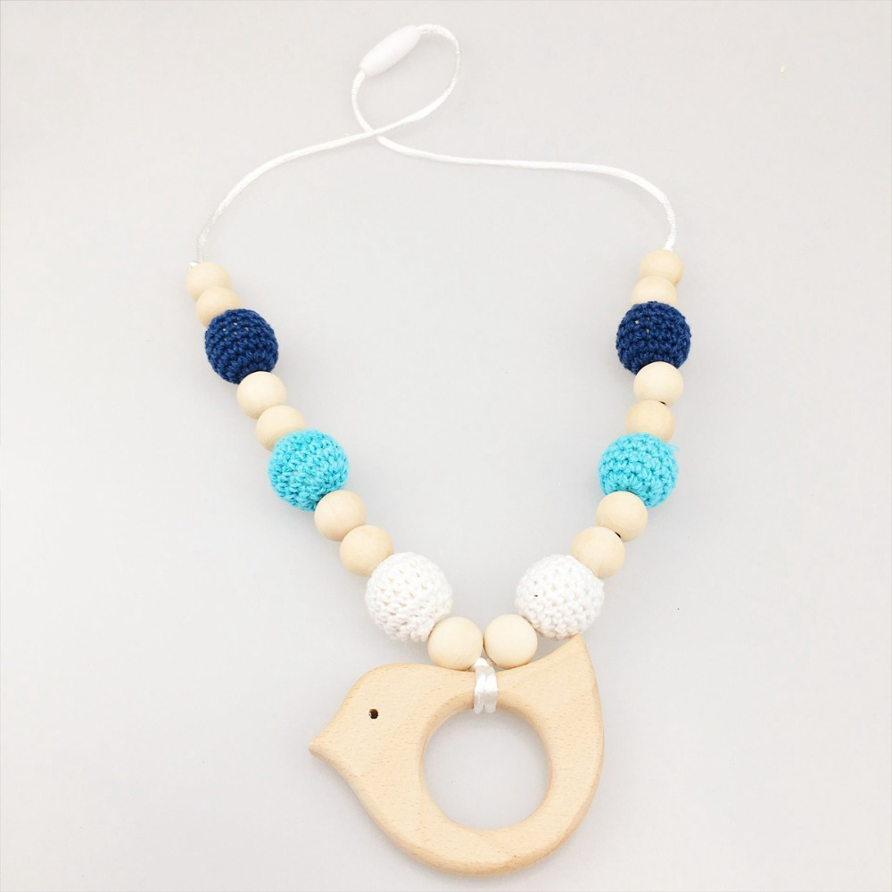 Crochet Natural Wood Teething Ring DIY Baby Chewable Necklace Jewelry Making