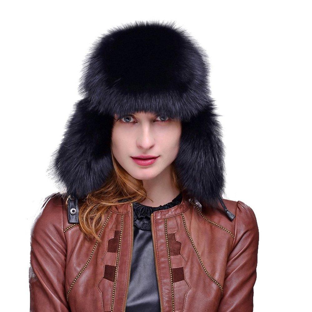 441f38b02f5 Get Quotations · Women s Fox Fur   Leather Russian Ushanka Hat with Fox Pom  Poms