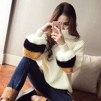 women pullover knitted turtle neck long sleeve sweaters fashion loose casual sweater