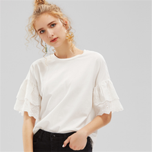Fashion Gelaagde Oogje <span class=keywords><strong>Prinses</strong></span> Geborduurde Ruche Mouw <span class=keywords><strong>T-shirt</strong></span>