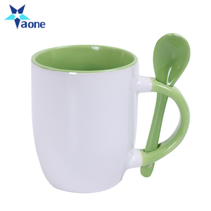 Promotional Gifts Custom Company Name Printed Ceramic White Coffee Mug Tea Cup With Spoon