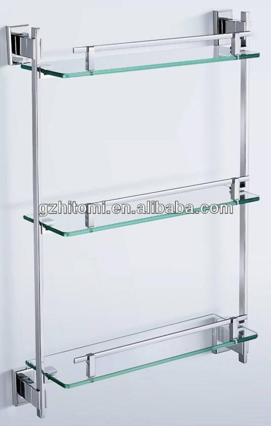 Cromado ba o ducha estanteria estanteria de vidrio montado - Estanterias de cristal para banos ...