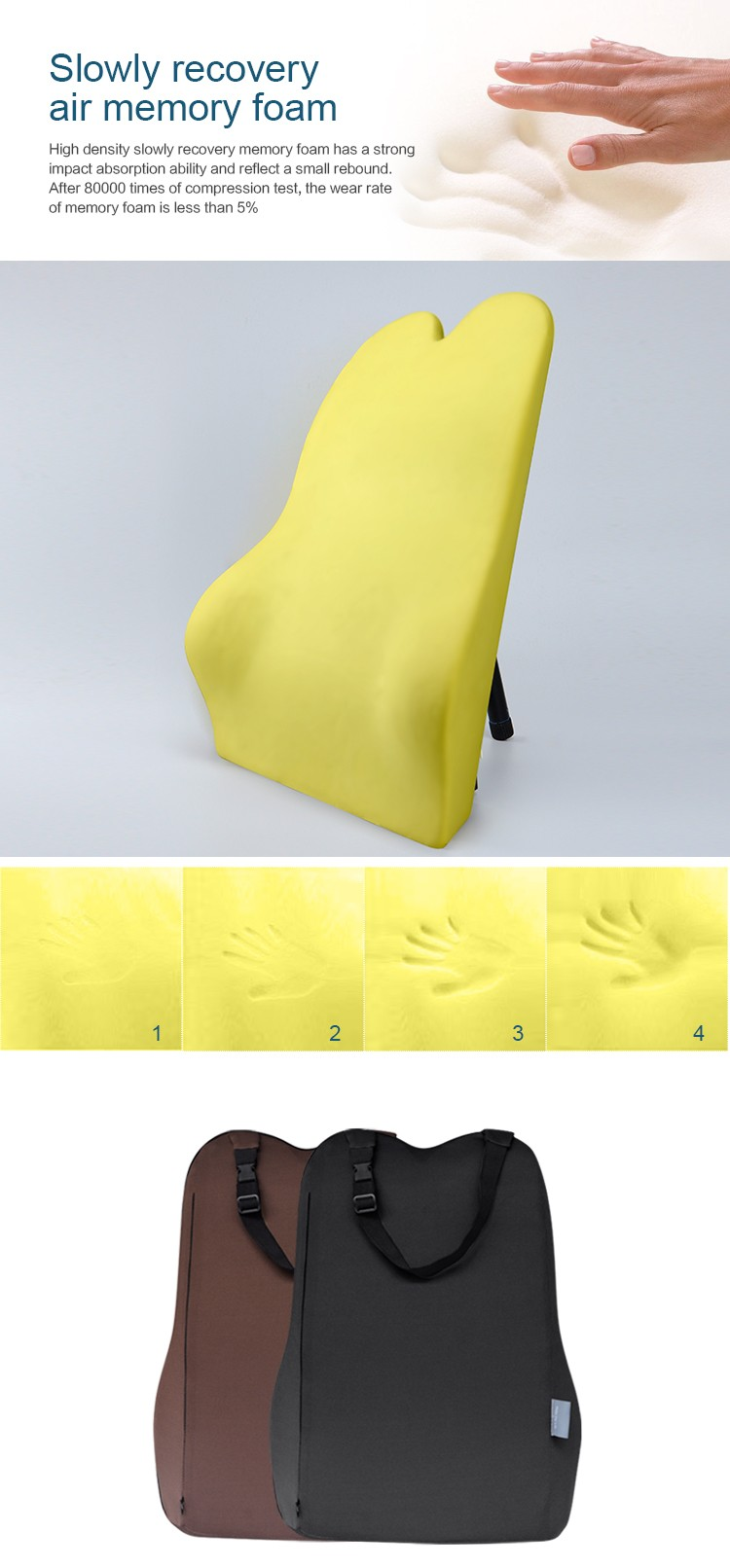 Byc car seat back support cushion low temperature resistance memory foam lumbar support for car