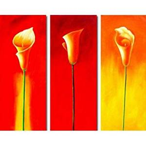 Ode-Rin Art Christmas Gift Christmas Hand Painted Oil Paintings Gift Love Calla Lily 3 Panels Wood Inside Framed Hanging Wall Decoration