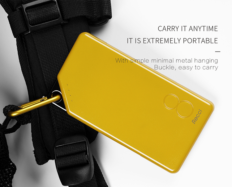 Recci Gallop New Product Ultra-thin Power Bank Portable Charger with CE Rohs