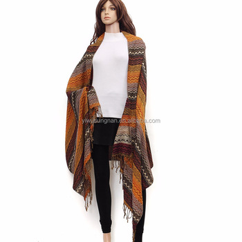 Factory wholesale woven jacquard thick warm shawl scarf