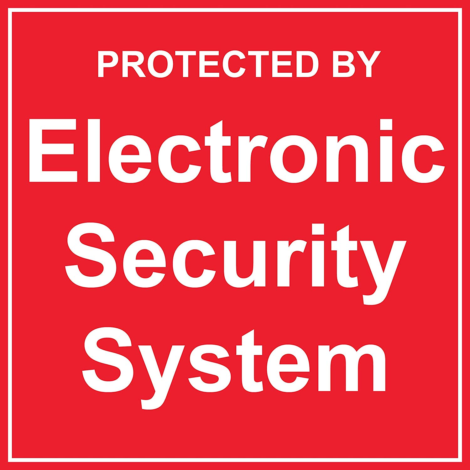 """BannerBuzz Protected by Electronic Security System Yard Sign with Metal Stakes, Non-Reflective UV Print Corrugated Plastic Sheets for Indoor & Outdoor Garden Signs (12"""" (H) X 12"""" (W))"""