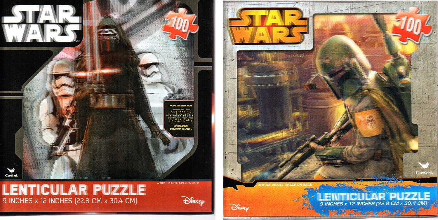 Star Wars Episode 7: The Force Awakens Kylo Ren Plus Boba Fett 100 Piece Lenticular Puzzle ( 9x 12 inches) with 3D Covers 2 PACK Bundle!