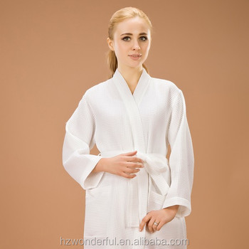 53dd4acdc5 ladies night dress 65% cotton soft and comfortable white waffle kimono long  elegant robes chenille