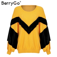 BerryGo Patchwork faux fur sweater pullover Women casual loose winter  sweater 2018 Autumn streetwear yellow jumper a22aa5121