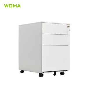 Bedside table Metal Steel mobile cabinet with 3 drawers