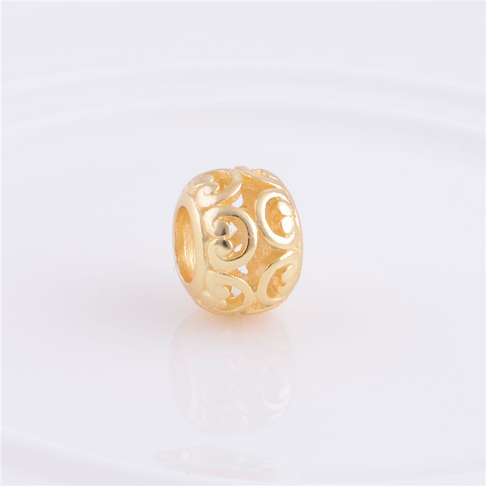 2015 New 18K Gold Plated Hollow Lucky Flower Slide Beads, Jewelry Fits for European Bracelets Necklaces GP068