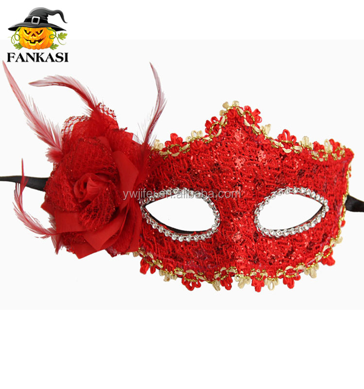Red Lady beautiful party city masquerade sexy lace masks