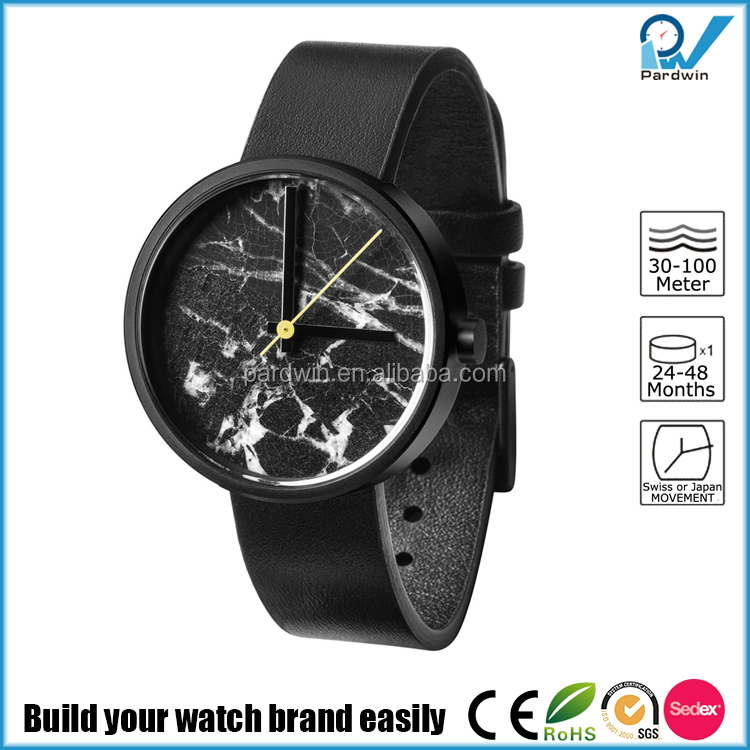 Marble Watch dial black and white stainless steel case japan movement unique watch collection