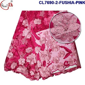 Fushia Pink Color Unique Embroidery Patterns Lace Light French