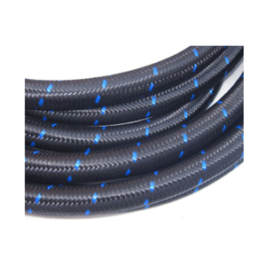 Black Blue Nylon Racing Hose 6 an braided fuel line hose for Oil Fuel and Coolant