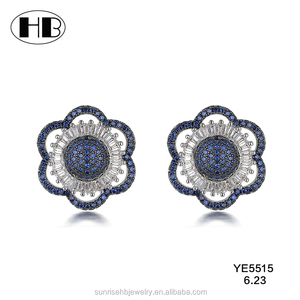 2017 Latest Designs Russian Fashion Women Girls Style Flower Antique Earrings With CZ Diamond