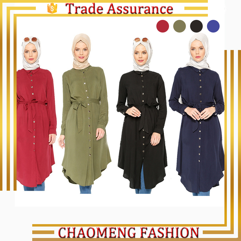 2013# Point Collar Long Sleeve Belted Shirt For Muslim Modest Fashion Abaya Tunic Wholesale, Red/green/black/blue