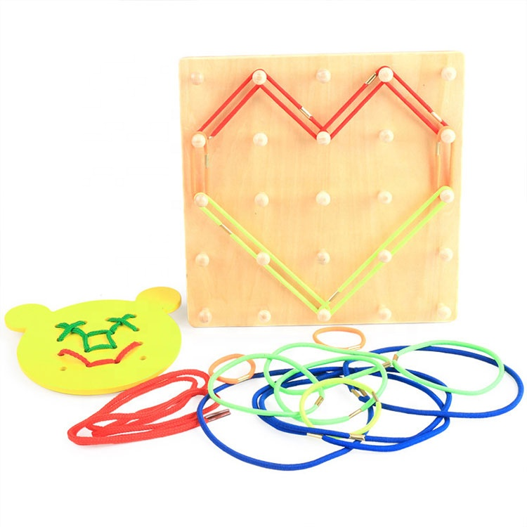 Classic Montessori Learning Basic Skills Toy Wooden Sensory Threading Board Toy With Rubber String