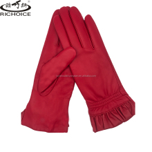 2018 Fashion Red Ladies Genuine Leather Gloves With Wool Lining