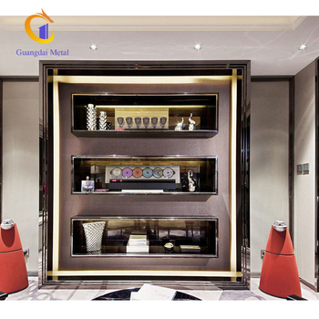Stainless Steel Brand Wall Showcase Designs For Display Indoor  Decoration