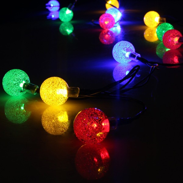 30 Led Crystal Ball Pattern Fairy Solar Outdoor Led String Lights ...